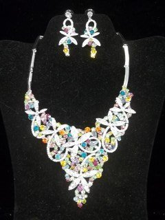Gorgeous Rhinestone Necklace Earings