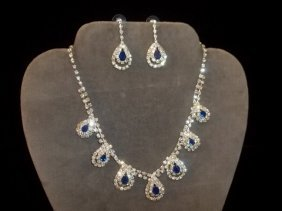 Cobalt Blue Rhinestone Necklace Earrings
