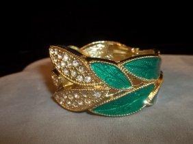 Nice Leaf & Rhinestone Bracelet Enameled