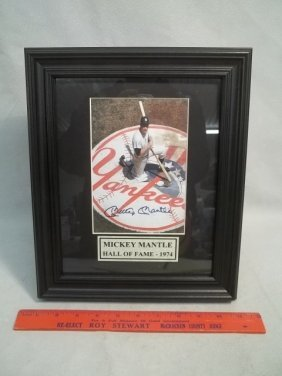 Mickey Mantle Autograph Photo W COA