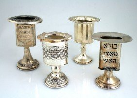 FOUR STERLING HAVDALAH CANDLE HOLDERS. Israel, C. 1
