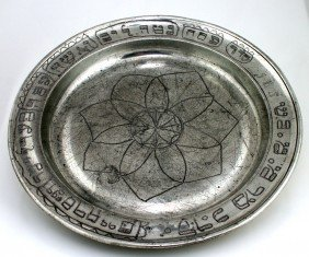 A PEWTER SEDER DISH. Germany, C.1850. Engraved With