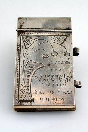 A SILVER NOTE PAD. Russia, C.1934. Engraved With Yi