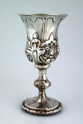 A MONUMENTAL SILVER KIDDUSH CUP. Vienna, C. 1853. H