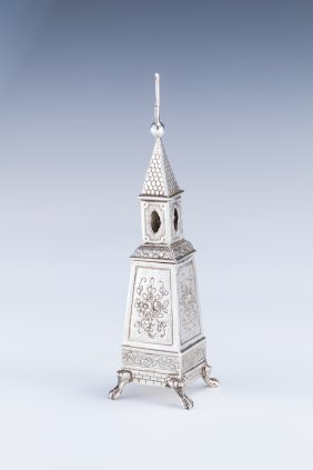 A SILVER SPICE TOWER. Germany, C. 1870.