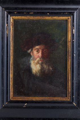 A OIL ON BOARD PAINTING OF A RABBINICAL FIGURE.