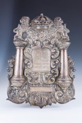 A LARGE SILVER TORAH SHIELD. United States, C. 1920