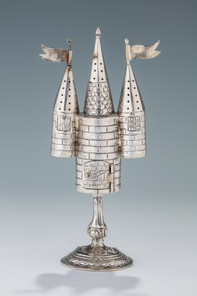 A Silver Spice Tower. Germany, C. 1890. On Round