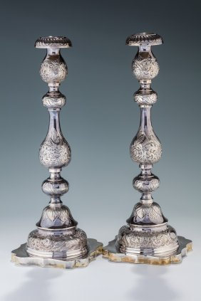 A Monumental Pair Of Silver Candlesticks By Josef