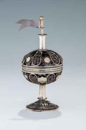 A Silver Spice Container. Poland, C. 1820. On Round