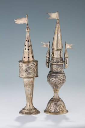 Two Silver Spice Containers. Germany, C. 1900. Both
