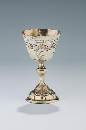 A Parcel Gilt Silver Passover Goblet By I.c. Berholt.