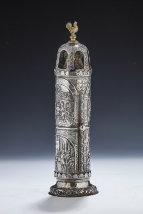 A Rare And Important Silver Megillah Case. Poland, 19th