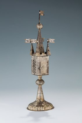 A Rare And Early Silver Spice Tower. Germany, Mid 18th
