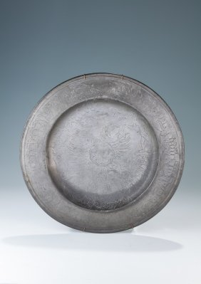 An Early Pewter Seder Dish. Germany, 19th Century.