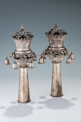 A Pair Of Silver Torah Finials. Germany, Late 19th