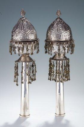 A Pair Of Large Silver Torah Finials. Persian, 19th