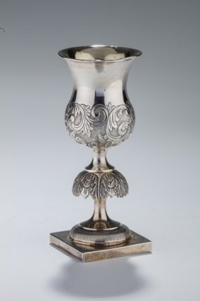 A Large Silver Kiddush Goblet By William Luther.