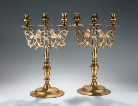 A Pair Of Large Brass Sabbath Candelabras. Poland,