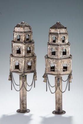 A Pair Of Silver Torah Finials. Algeria, C.1900.