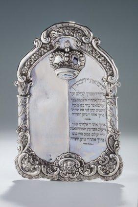 A Silver Torah Shield. Rumanian, Early 20th Century.