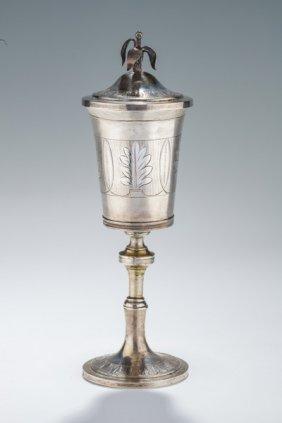 A Large Silver Covered Kiddush Goblet. Brunn, 1814. On