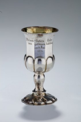 A Large Silver Kiddush Goblet. Germany, 19th Century.