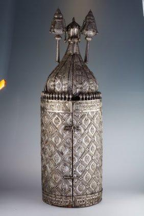 A Large Silver Torah Tik. Iraq.
