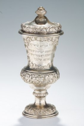 A Rare And Important Covered Silver Kiddush Goblet.