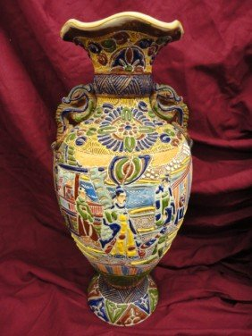 Vase, Satsuma, Oriental Decoration, Heavily Appli