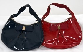 TWO FERRAGAMO PATENT LEATHER PURSES