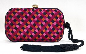 BOTTEGA VENETA PINK & BLACK INTRECCIATO EVENING BAG