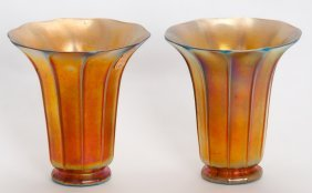 Pair Of Steuben Aurene Glass Fluted Vases