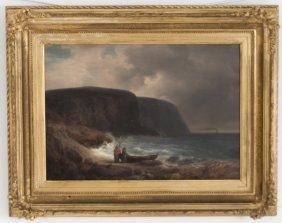 """Herman Herzog: """"coastal Scene With Fisherman"""""""