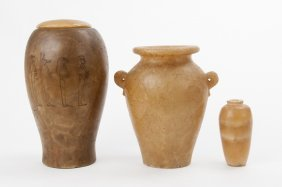 Three Egyptian Alabaster Vessels