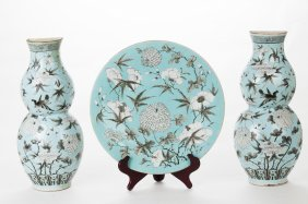 Pair Of Chinese Porcelain Wall Pockets & Charger