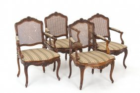 Set Of Four French Provincial Cane Back Fauteuils