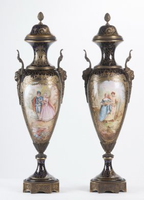 Pair Of Sevres Style Cobalt Porcelain Covered Vases