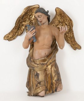 German Carved & Polychrome Figure Of An Angel