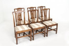 Six Chippendale Dining Chairs