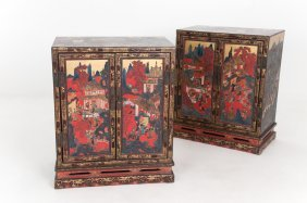 Pair Of Chinese Lacquered Side Cabinets