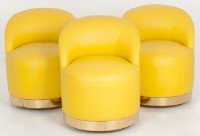 Karl Springer: Set Of Three Yellow Upholstered Swivel