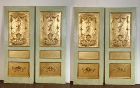Set Of Four French Painted & Parcel Gilt Doors