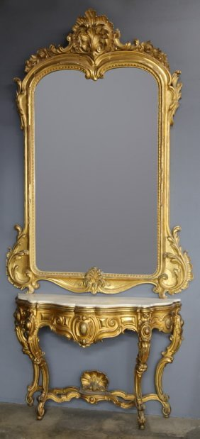 Louis Xv Style Gilt Carved Giltwood Console & Mirror