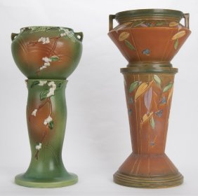 Roseville: Two Pottery Jardinieres & Pedestals