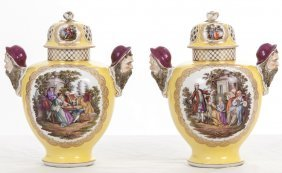 Pair Of Dresden Porcelain Covered Jars