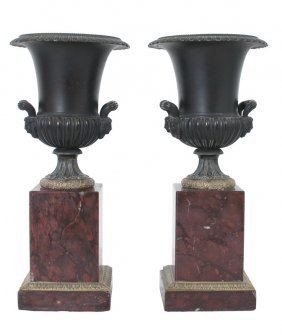 Pair Of French Bronze Urn Form Garnitures