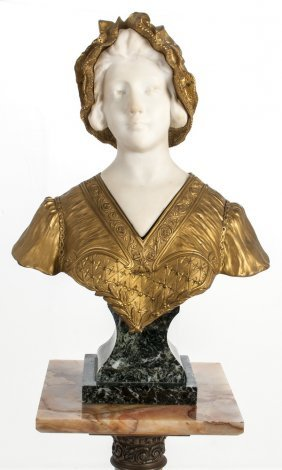 Carved Marble & Bronze Bust Of A Maiden