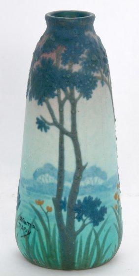 Amalric Walter Art Glass Landscape Vase