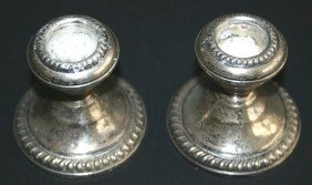 Pair Of NS Co. Sterling Weighted Candlesticks.  2 1/